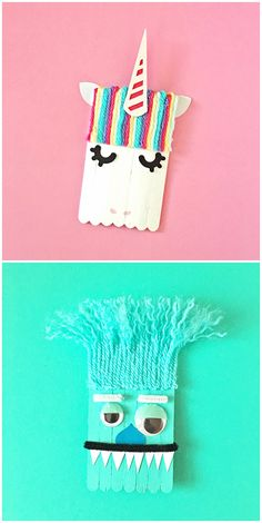 Unicorn and Monster Popsicle Stick Craft for Kids. Make these cute, magical and silly creatures for Valentine's Day, parties, or any celebration!