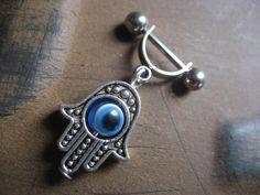 16 Gauge Helix Cartilage Bar Hand Of Fatima Hamsa Blue Evil Eye Charm Dangle 16g G Industrial Barbell Upper Ear Piercing. $15.00, via Etsy.