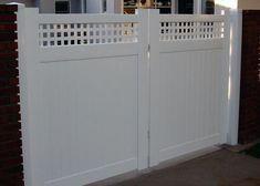 Driveway Gate with Square Lattice. Lomita, CA Home Estimate, Vinyl Gates, Vinyl Siding, Large Driveway, Gate Design, Locker Storage, Vinyl Fence, Picket Gate, Block Wall