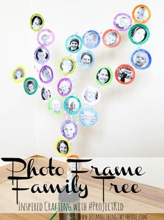Framed Photo Family Tree--tutorial.  Great for a kid's playroom!