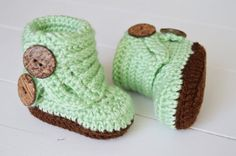 Baby Fold Over Button Boots Mint and Chocolate by ChucksForChancho
