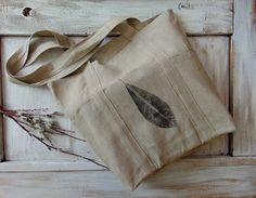 Linen fabric tote bag, market bag, shopper bag, linen tote, fabric, linen, strap bag, leaf ink print, reusable, farmhouse, natural