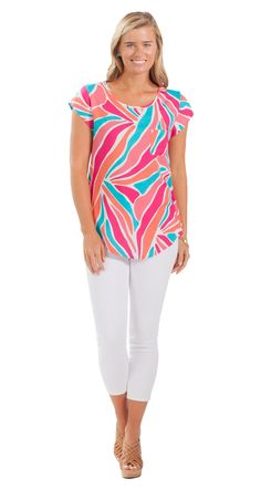 This bold printed top is a colorful upgrade from a basic T-shirt!