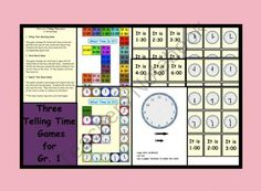 Three Telling Time Games for Grade 1 -Promotion ends at CST on Teaching First Grade, Teaching Time, First Grade Math, Teaching Math, Second Grade, Math Games, Math Activities, Maths Fun, Games For Grade 1
