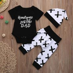 Infant Baby Boy Girl Letter Black T-shirt Tops+Pants Outfit Newborn Unisex Cute Clothes Set Cotton Summer Boy Girl Clothing Ropa de niña, Third Baby, First Baby, Baby Boys, Dad Baby, Baby Boy Accessories, Organic Baby Clothes, Pregnant Mom, Baby Kind, Trendy Baby