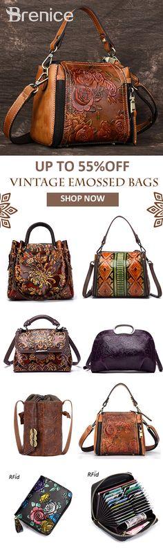 【UP TO 55% OFF】Brenice Hot-Sale Floral Pattern Vintage Handmade Leather Handbags And Shoulder Bags For Female #pattern #flower #vintage #trends #wishlist