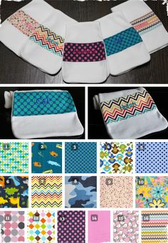$9.50 Personalized Extra Long Baby Burp Cloths - 16 Patterns to Choose From! at VeryJane.com