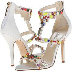 Oscar de la Renta Simona (Ivory Nappa) High Heels ($720) ❤ liked on Polyvore featuring shoes, sandals, bone, galaxy shoes, galaxy print shoes, open toe shoes, oscar de la renta sandals and zip shoes