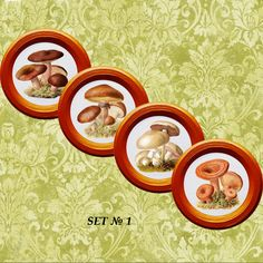 Mushrooms wall decorations 4 plates set wall by PaperPlateArt