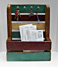 Rustic Key Holder Mail Organizer Bathroom by RobsRusticCreations