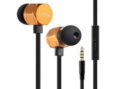 New ME505 metal texture heavy bass in- ear earphones with microphone  gold