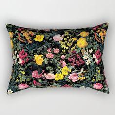Floral and Birds Pattern Rectangular Pillow