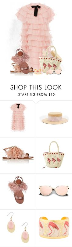 """Ruffled flamingo"" by sharonbeach ❤ liked on Polyvore featuring macgraw, Federica Moretti, Miu Miu, Lucky Brand, Évocateur and ruffles"