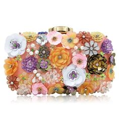 Milisente Women Clutches Colorful Flower Evening Bag Sequins Satin Evening Clutch ** You can find more details by visiting the image link. (This is an affiliate link) Rose Gold Fabric, Wedding Purse, Beaded Clutch, Sequin Clutches, Floral Bags, Satin, Party Bags, Small Shoulder Bag, Chicano