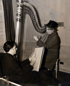 """Salvador Dalí sketching Harpo Marx (1937, via). Dalí, a huge Marx Brothers fan with a particular admiration for Harpo, whom he viewed as """"the most surrealist figure in Hollywood"""", sent him a harp with barbed wire for strings and forks & spoons for tuning knobs as a Christmas present in 1936. Delighted, Harpo wrote Dalí that he would be """"happy to be smeared by you"""" if the artist ever found himself in Hollywood. The next month Dalí arrived, brushes and easel in hand. The resultant painting is…"""