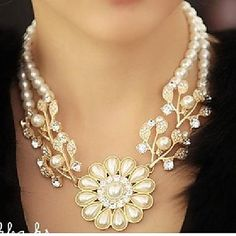 Women's+Diamond+Pearl+Floral+Necklace+–+USD+$+6.99