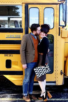 use a school bus for adult backdrop- fun! OR, take the kids up to the school after hours for a fun shoot by the bus at the beginning of the school year? Buy A School Bus, Sunday Clothes, Man Clothes, Couple Photography, Photography Tips, Outfit Posts, Playing Dress Up, Pretty Outfits, Cute Couples