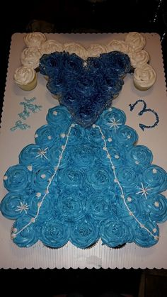 "This is the ""Frozen"" inspired Elsa cupcake dress I made as a special treat for my daughter to bring to daycare for her third birthday :)"