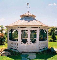 The Victorian Gazebo features white designed double doors and lovely custom made railings Small Gazebo, Screened Gazebo, Hot Tub Gazebo, Backyard Gazebo, Gazebo Plans, Gazebo Ideas, Yard Ideas, Garden Pavillion, Raised Bed Garden Design