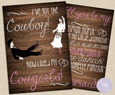 Cowgirl Wedding Party Proposal Cards Set (3 cards total) (Printable Files Only) Cowgirl's Bridesmaids; Country Wedding Bridesmaid Proposal
