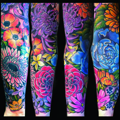 Tattoos   Jessi Lawson – Artist  I love the bright colors on this one, think the black back ground really makes them pop!