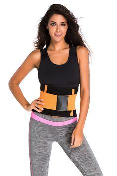 Orange Sweat Band Waist Training Belt