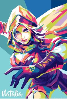 Wallpaper Natalia Mobile Legend WPAP by: mahayhana for Android and iOS Legend Drawing, Legend Images, Mobile Legend Wallpaper, Bear Wallpaper, Mobile Legends, Hero Arts, Mobile Game, League Of Legends, Anime Characters