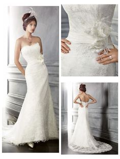 Top Grade Lace over Satin Mermaid Strapless Chapel train Wedding Dresses