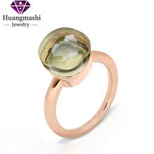 2016 New 18K Rose Gold Plated Finger Ring for Women with AAA Yellow Crystal PR008