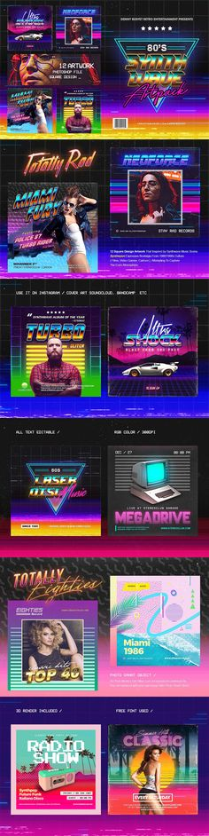 80's Synthwave Square Artpack Templates PSD