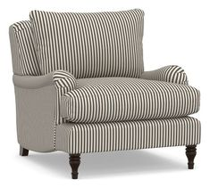 Pottery Barn Carlisle Upholstered Armchair, Down Blend Wrapped Cushions, Sateen Ticking Stripe Indigo - Print Pattern Chairs Striped Chair, Patterned Armchair, Upholstered Arm Chair, Sofa Chair, Diy Chair, Chair Pads, Swivel Chair, Chair Cushions, Cafe Chairs