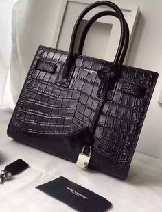 Saint Laurent Classic Baby SAC DE JOUR Bag in Black Crocodile Embossed Leather sale at USD 406.  Free International Shipping. Visit website on http://www.luxtime.su/