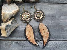 Bronze earrings. Feather earrings. Leather feather earrings. Leather earrings. Boho earrings. Bohemian earrings. Long tribal earrings.