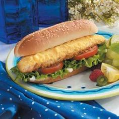 Our family likes to fish, so I'm always looking for different ways to prepare our catch. This one has turned out to be a family favorite. Baked Walleye, Walleye Fish Recipes, State Foods, Dinner This Week, Sandwich Recipes, Fish And Seafood, Hot Dog Buns, Sandwiches, Good Food