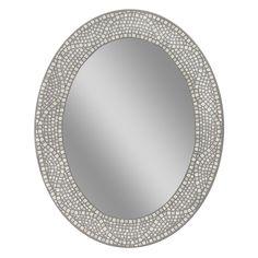 Headwest Opal Mosaic Oval Wall Mirror, Grey