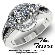 The Tesora  #MR 1222    The Tesora, White Gold Diamond Ring. A center Round Brilliant Diamond of approximately 0.35ct. and 90 Round Brilliant accent diamonds with an approximate total weight of 0.45ct. This Ring has a total diamond weight of 0.80cts..  http://www.georgethompson.com/engagement-rings/the-tesora.html#