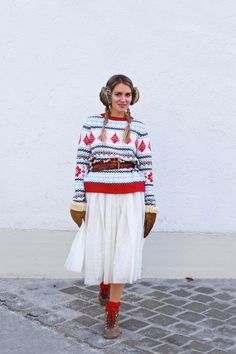 Heartfelt Hunt - Holiday Tulle Styles - Tulle Skirt, Norwegian Sweater, Earmuffs, Mittens, Boots, Turtleneck, Velvet Off-Shoulder Top, Clutch, Heels and blonde halo braid - Winter Fashion and Holiday Season Style