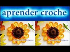 FLORES EM CROCHE FLOR GIRASSOL MODELO UM - 029 - YouTube