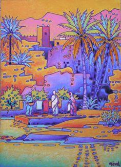 oasis du sud Marocain (Peinture), 22x35 cm par Gilles Mével scène de la vie dans l' oasis .pastel à l' huile .
