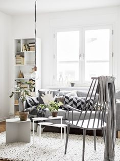 HAY Slit Table, Oyoy cushion and LuckyBoySunday cushion add so much to this light filled room.