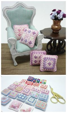 Dollhouse miniature crochet pillow for dollhouse scale by MiniGio
