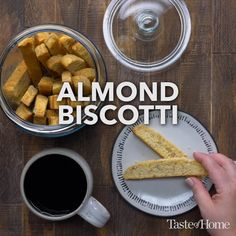 I've learned to bake a double batch of this crisp almond biscotti recipe, because one batch goes too fast! Cookie Desserts, Dessert Recipes, Christmas Desserts, Almond Biscotti Recipe, Healthy Party Snacks, Healthy Biscuits, Cranberry Cheesecake, Food Videos, Recipe Videos