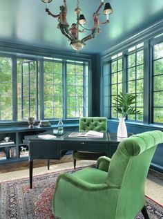 Amy Studebaker Design (House of Turquoise) House Of Turquoise, Turquoise Room, Turquoise Office, Transitional Living Rooms, Transitional House, Transitional Lighting, Blue Office Decor, Aqua Decor, Blue Home Offices