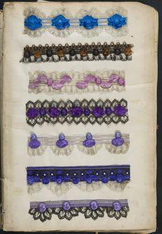 Passementeries - book consists of mounted samples of needleworkk, ca. 1842