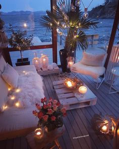 My idea of a perfect chill out space; cosy seats fairy lights candles right next to the sea! My idea of a perfect chill out space; cosy seats fairy lights candles right next to the sea! […] decoration for home Romantic Room Decoration, Romantic Home Decor, Romantic Homes, Boho Style Decor, Boho Chic, Bohemian Style, Boho Beach Style, Shabby Chic, Fairy Lights