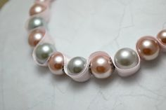 Glass+pearl+beaded+ribbon+necklace.+Light+grey+by+AlyxAndreaDesign,+$12.00