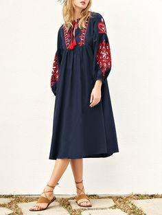 Lantern Sleeve Embroidered Smock Dress - PURPLISH BLUE L