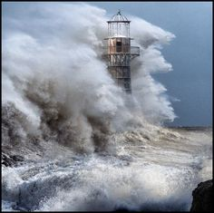 *Raging Storm at Whiteford Lighthouse