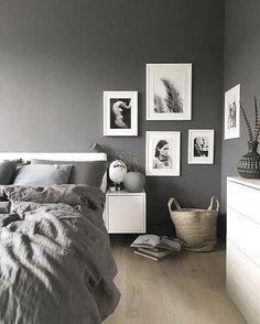 8 Fabulous Tricks: Minimalist Home Bedroom Minimalism minimalist home diy drawers.Minimalist Home Bedroom Minimalism minimalist bedroom simple home decor. Black And Grey Bedroom, Grey Bedroom Design, Gray Bedroom Walls, Bedroom Design Inspiration, White Interior Design, Grey Room, Bedroom Designs, Grey Walls, Design Ideas