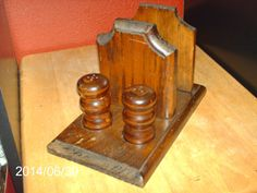 Wooden Napkin Holder With A Set Of Wood Salt & Pepper Shakers